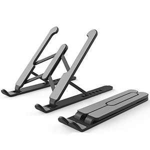 Adjustable Computer Laptop Stand Tablet Stand Ergonomic Foldable Portable Desktop Holder Compatible (Black)