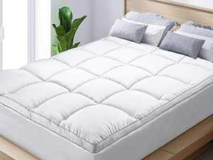 BedStory California King Mattress Topper, Overfilled Extra Thick PillowTop Plush Mattress Pad, Hypoallergenic Breathable Super Soft Microfiber Down Alternative Fill