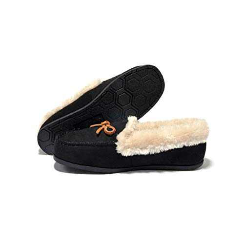 Breifola Women's Moccasin Slippers Loafer,House Shoes Suede Faux Fur Lined,Indoor&Outdoor Driving Shoes (Black012-2, Numeric_6)