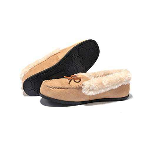 Breifola Women's Moccasin Slippers Loafer,House Shoes Suede Faux Fur Lined,Indoor&Outdoor Driving Shoes (Beige012-4, Numeric_5)