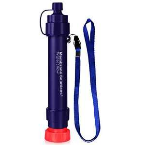 WS02 Personal Water Filter Straw - 0.1 Micron 4-Stage Water Purifier Survival Gear - 3,000L Portable Water Filtration System - Removable Water Filter Hiking Camping Emergency Preparedness, 1 Pack