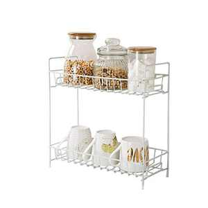 Soffiya Kitchen Spice Rack, 2 Tier Spice Rack Organizer for Countertop, Kitchen, Cabinet, Pantry, Bathroom, Stable Standing Spice Rack (white)