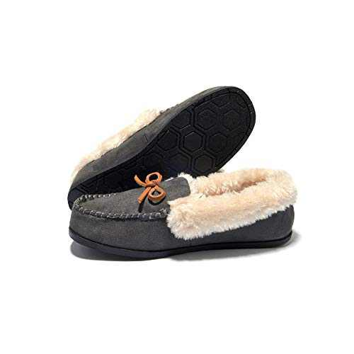 Breifola Women's Moccasin Slippers Loafer,House Shoes Suede Faux Fur Lined,Indoor&Outdoor Driving Shoes (DeepGray012-5, Numeric_10)