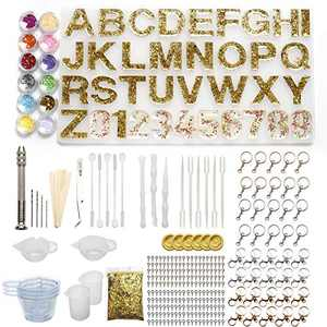 Alphabet Mold for Resin,Keychain Letter Silicone Resin Molds with Keychains Resin Drill Kits Epoxy Molds for DIY Keychain,Earring,House Number,Home Decoration …