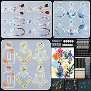 Resin Mold Kit,186 PCS Earring Silicone Molds for Epoxy Resin Casting-Real Dried Flowers… (Flower)