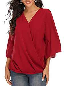 St. Jubileens Women's Casual 3/4 Sleeve Wrap V Neck Chiffon Blouses Tops Shirts Wine Red L