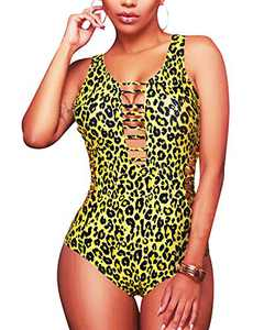 Aqua Eve Women Sexy One Piece Swimsuits Plunge Deep V Neck Cutout Bathing Suits Leopard XX-Large