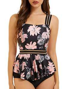 Peddney Strappy Tankini Swimsuits for Women Tummy Control Peplum Two Piece Bathing Suits with High Waisted Bikini Bottom Pink-Black