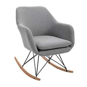 Non-Slip Rocking Chair Modern Nordic Style Upholstered Accent Chair Single Sofa Chair for Playroom, Bedroom and Living Room, Contemporary Rocker, Small Cushioned Arm Chair, Grey