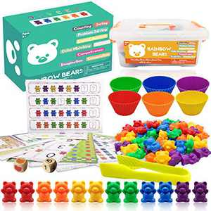 Yooumoga Counting Bears Rainbow Sorting Bears Toys 60 Colored Bears with Matching Sorting Cups, Storage Container and Dice Math Toddler Games 84pc Set Learning Toys