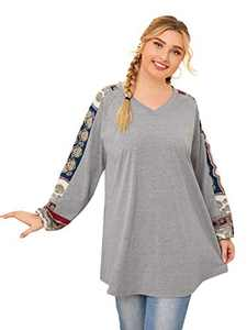 Romwe Women's Plus Size Long Sleeve V Neck Contrast Raglan Cotton Blouse Top Grey 1XL