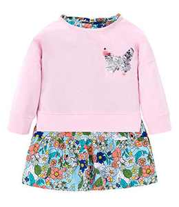 Ainuno Little Girl Dresses Long Sleeve Dress for Kids 6-7 Years Old Clothes Pink Dress Cute Cotton Fall Outfits Printed Age Size 6 7 Year Crewneck Aline Dress Cocktail for Party,Pink Floral Flower