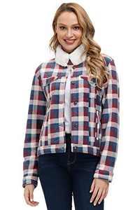 Ladies Stylish Plaid Outerwear Casual Soft Fuzzy Jacket Winter Lapel Coat Navy Blue S