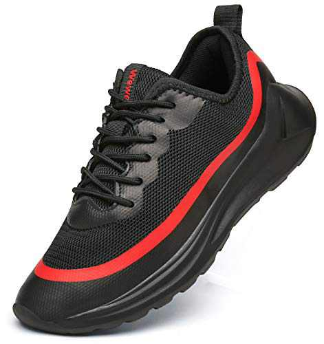 Weweya Walking Shoes for Men Non-Slip Casual Sports Shoes Fashion Sneakers Lightweight Jogging Shoes Black Red 8.5