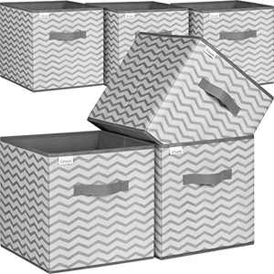 """Storage Bins, 6 Pack Foldable Fabric Open Storage Cubes 11""""x11""""x11"""" Collapsible Sturdy Organizer Baskets with Dual Handles for Cabinet Closet Shelf Storage (Grey, Waves)"""