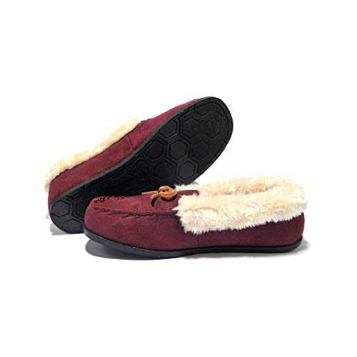 Breifola Women's Moccasin Slippers Loafer,House Shoes Suede Faux Fur Lined,Indoor&Outdoor Driving Shoes (WineRed012-3, Numeric_5)