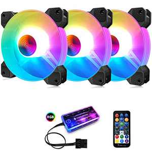 3 Pack RGB Case Fans,PECHAM 120mm Silent Computer Cooling PC Case Fan Addressable RGB Color Changing LED Fan with Remote Control,Music Rhythm Sync & 5V ARGB Motherboard Sync(RGB2)