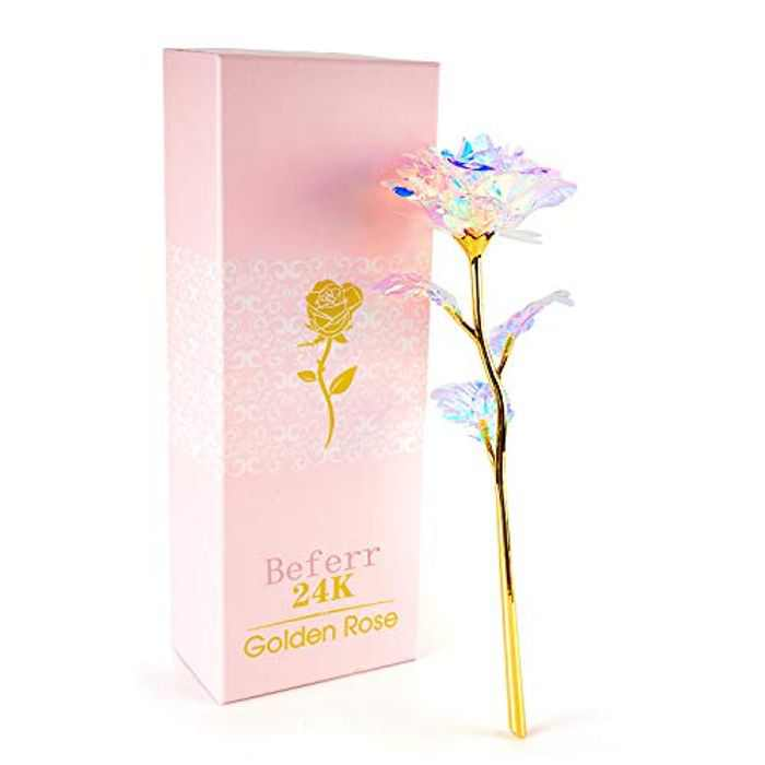 Beferr 24k Gold Plated Plastic Galaxy Rose, Artificial Forever Rose Flower, Infinity Rose Gift for Her Girlfriend Wife Mum Women on Valentine's Day Mother's Day Anniversary Birthday Christmas