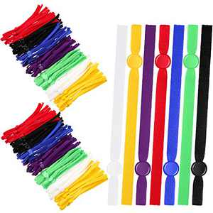 Flat Elastic Cord Bands with Adjustable Buckles Stretchy Sewing Strap Elastic Cord Straps Anti-Slip Adjustable Earloop for DIY Face Cover Making Supplies, 7 Colors (420)