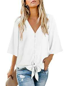 II ININ Women's Deep V Neck Loose Tops Ruffle 3/4 Sleeve Front Tie Knot Blouses Button Down Casual Shirts(Off-White,S)
