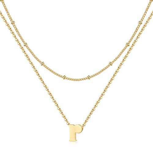 IEFRICH R Initial Necklace for Women, Dainty Tiny Gold Letter Initial Mini Small Initial Necklace for Women Gold Initial Choker