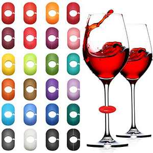 36 Pieces Wine Glass Markers Colorful Drink Charm Markers Silicone Wine Markers for Glass Cup Champagne Cocktail Bottles Wedding Party Favor