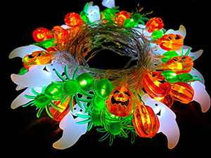 Halloween String Lights Battery Powered - Priama 3 x 20 LED Battery Operated Twinkle Decor Light - Warm White Ghost/Orange Pumpkin/Purple Spider - Decorative for Indoor/Outdoor(3 x 10 ft)
