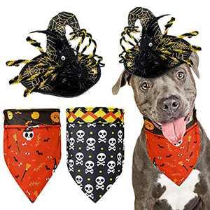 2 Pieces Halloween Dog Bandanas with Wizard Hat, Reversible Design Adjustable Washable Triangle Dog Scarfs, Pumpkin Skull Bat Dog Halloween Costumes for Large Medium Dogs