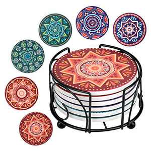 Coasters for Drinks, Set of 6 Absorbent Ceramic Cork Coasters, Mandala Style Coasters with Holder, for Kinds of Mugs and Cups
