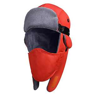 Zacro Trapper Hat - Unisex Winter Trapper Hat Warm Thick Trooper Hats with Windproof Mask for Men and Women Orange