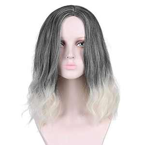 Grey Wigs Loose Wave Wig Short Bob Wigs Black Ombre White Wig Halloween Cosplay Costume Wig Shoulder Length Wigs for Women Girl Costume Wigs Daily Party Wig 17 Inch(Gray and white)