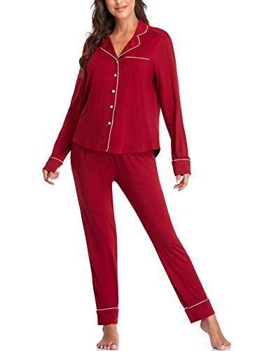 VIMASS Womens Pajamas Set Sleepwear Pjs Long Sleeve Ladies Lounge Sets Pijamas,Anniversary,Birthday,Valentine's Day Gift for Her, Red L Size