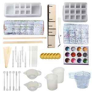 Silicone Resin Molds,Silicone Lipstick Holder Molds with 6-Slot 12-Slot Makeup Storage Molds for DIY Art Casting Resin Jewelry Craft Making Tool Set