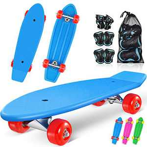 MOVTOTOP Skateboards for Kids, 21.5'' Mini Cruiser Skateboards for Beginners with 6 in 1 Protective Gear Set, Complete Skateboard for Girls and Boys 3-6