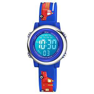 Venhoo Kids Watches for Boys 3D Cartoon Waterproof Silicone 7 Color Flashing Lights Children Toddler Wrist Watch for Boy Little Child-Blue Fire Truck