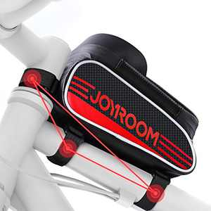 """joyroom Bike Phone Mount Bag-Waterproof Bike Front Frame Handlebar Bag Bike Phone Holder Case Bicycle Accessories Pouch Sensitive Touch Screen Compatible with iPhone 11 XS Max XR 8 Plus Below 6.7"""""""