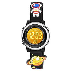Venhoo Kids Watches Boys 3D Cartoon Waterproof Silicone 7 Color Flashing Lights Children Toddler Wrist Watch for Boys Little Child-Astronauts