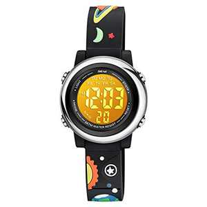 Venhoo Kids Watches for Boys 3D Cartoon Waterproof Silicone 7 Color Flashing Lights Children Toddler Wrist Watch for 4-10 Years Boys Little Child-Black Universe