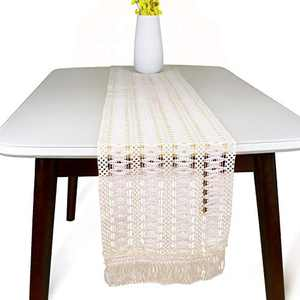 Macrame Table Runner 82 Inches, Boho Table Runner for Wedding Table Decor, Cotton Crochet Lace Table Runner with Tassels for Home Dining, Off White Table Runner