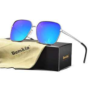 Bemkia Sunglasses Men Women Rectangular Polarized Metal Frame with Spring Hinges UV400 Protection 62MM,Mirrored Blue