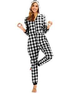 Enipate Women's Christmas Plaid Zipper Onesie Pajama One-Piece Jumpsuit Adult Hooded Union Suit Jogger Loungewear Sleepwear Hoodie Gray 2XL