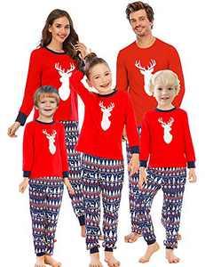 Enipate Men's Christmas Deer Family Matching Pajama Set Sleepwear Loungewear T-Shirt Nightwear Adult M