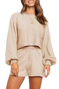 NENONA Women's 2 Piece Knit Sweater Pajamas Sets Solid Pullover Sweatsuit Crop Top Shorts Sleepwear with Pockets(Apricot-M)