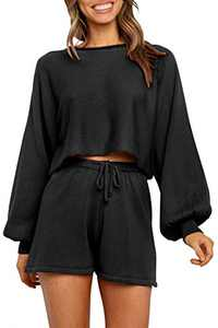 NENONA Women's 2 Piece Knit Sweater Pajamas Sets Solid Pullover Sweatsuit Crop Top Shorts Sleepwear with Pockets(Black-M)