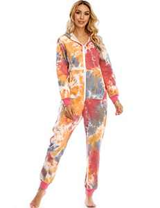 Enipate Women's Heart Zipper Onesie Pajama One-Piece Jumpsuit Union Suit Adult (Z-Tie dye, 2XL)