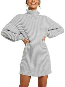 Margrine Womens Turtleneck Long Sleeve Elasticity Chunky Bodycon Knit Pullover Sweaters Dress Jumper Gray M2A40-yinhui-XS