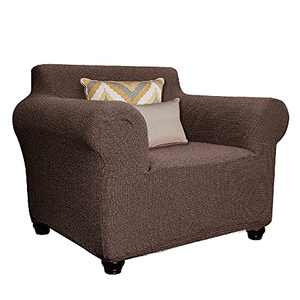 ROUNGEE Stretchy Sofa Slipcover Furniture Protector Anti-Scratch Water Resistant Fabric (Chair, Brown)