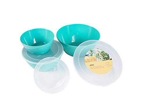 JSTEX Plastic Mixing Bowls with Lids for Kitchen, 3 Set Stackable Mixing Bowl Prep Bowls for Cooking Serving Salads, Snack, Fruits, Food Storage -Dishwasher Safe, BPA free