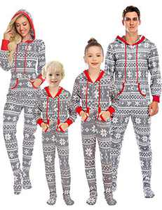 Enipate Kid's Christmas Family matching Footed Onesie Pajama Zipper One-piece Jumpsuit Hooded Union Suit Sleepwear Bodysuit Loungewear Hoodie Child Gray 160 …