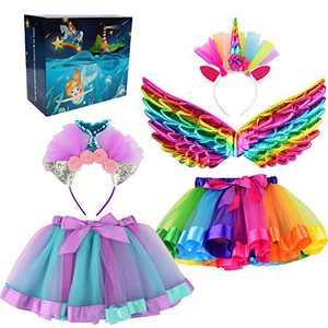 Cocojeci 5pcs Girls Layered Rainbow Tutu Skirt with Unicorn Wing,Unicorn Mermaid Headband, Dress Up Outfit Gift for Girls